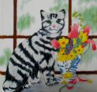 Cat with spring flowers 8x8
