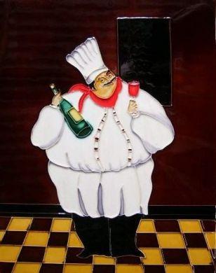 fat chef picture tile - Salcombe Ceramics