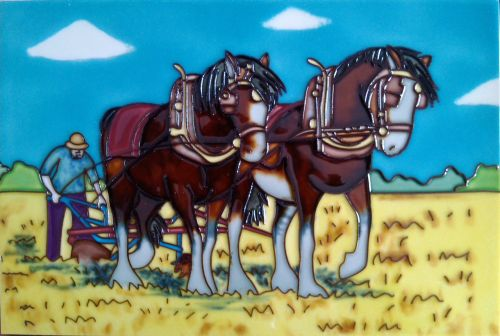 Bay Shires On Stubble 8x12