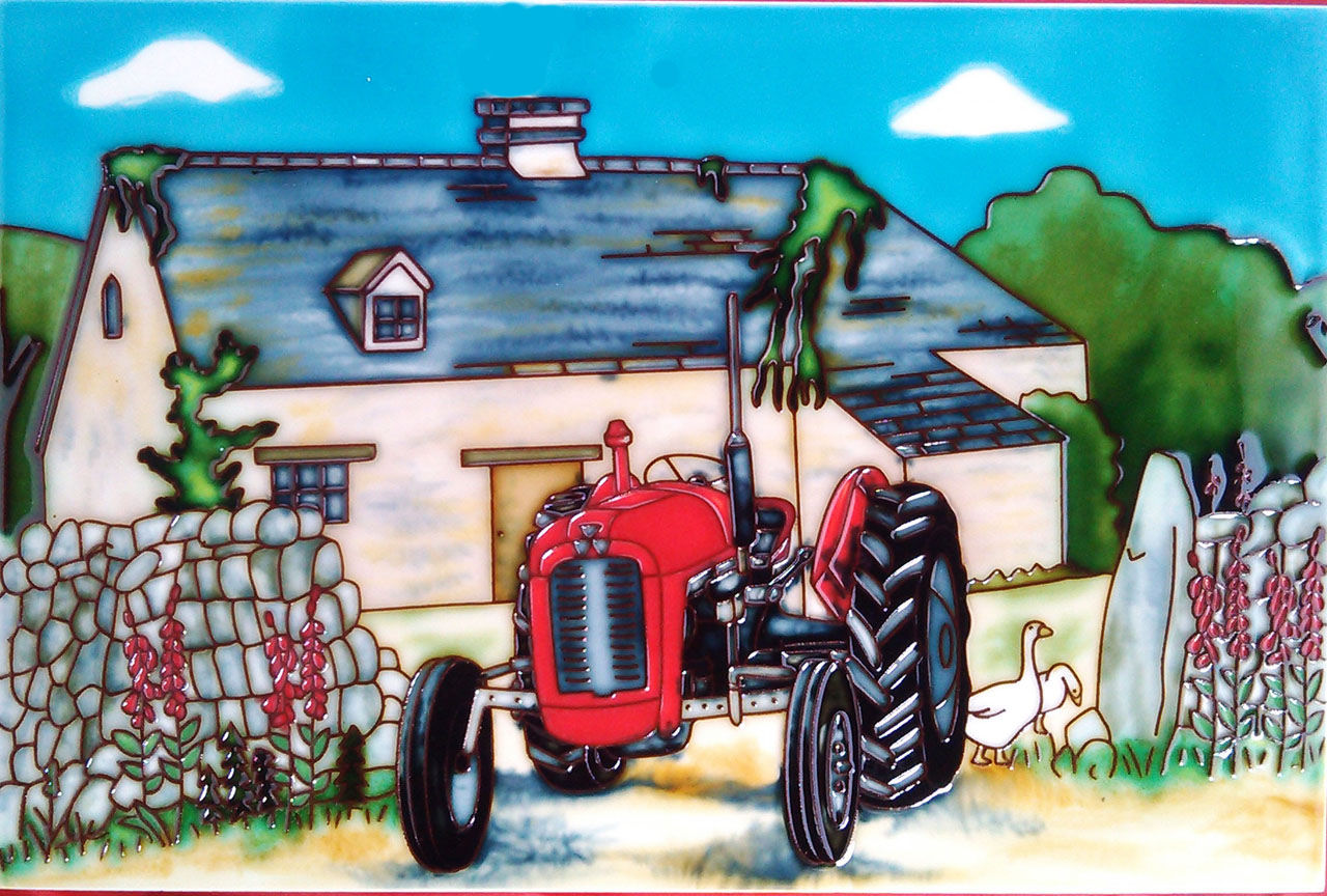 Farmyard Hand Painted Decorative Tile X