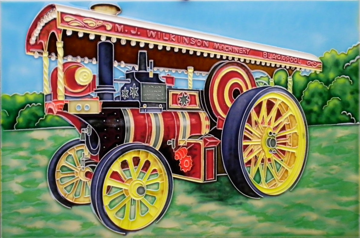 Steam Traction Engine Picture Tile Salcombe Ceramics